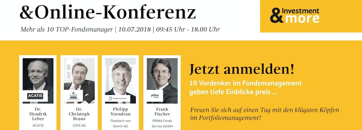 Investment&more - Hausse- oder Krisenszenarien voraus? Die Online-Konferenz mit 10 Top-Fondsmanagern.