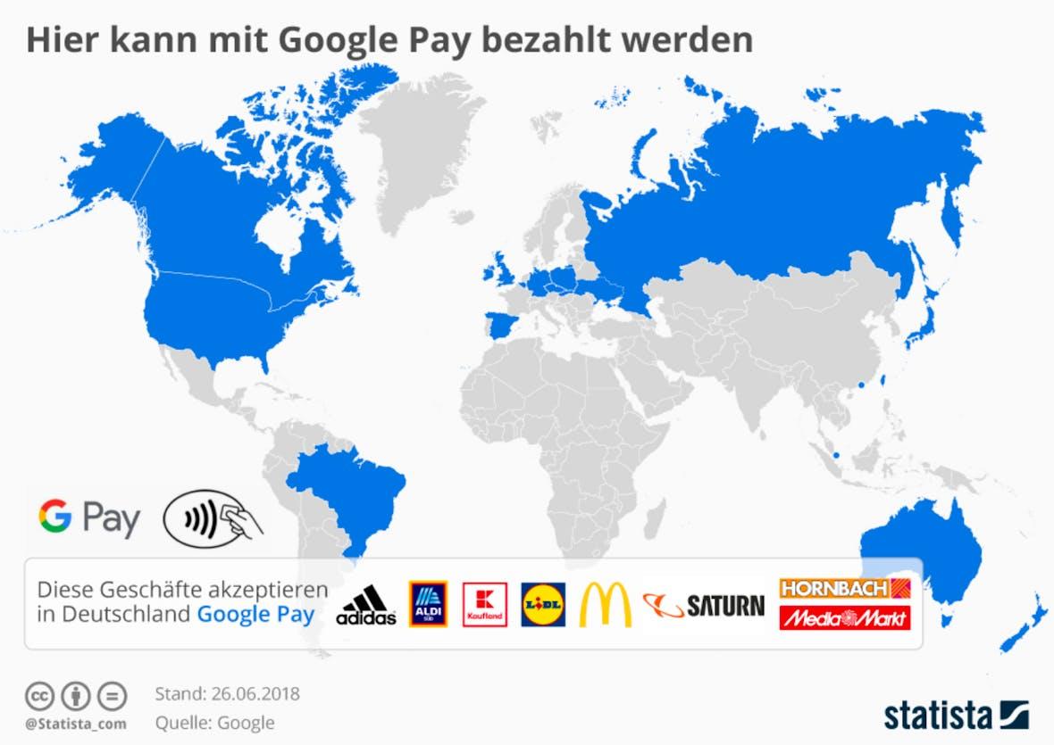 Die Statistik des Tages: Hier kann mit Google Pay bezahlt werden